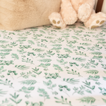 Lovely Leaves Green Fitted Cot Sheet | The Gilded Bird | Cotbed Fitted Sheet | Buy Cotbed Sheet | Fitted Cot Sheet