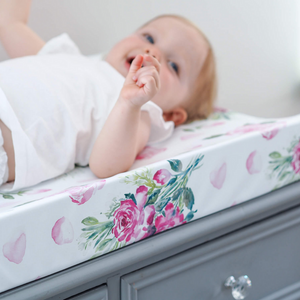 Pink Roses Anti Roll Wedge Mat | The Gilded Bird | Baby Changing Mats | Buy Changing Mats Online | Buy Wedge Mats