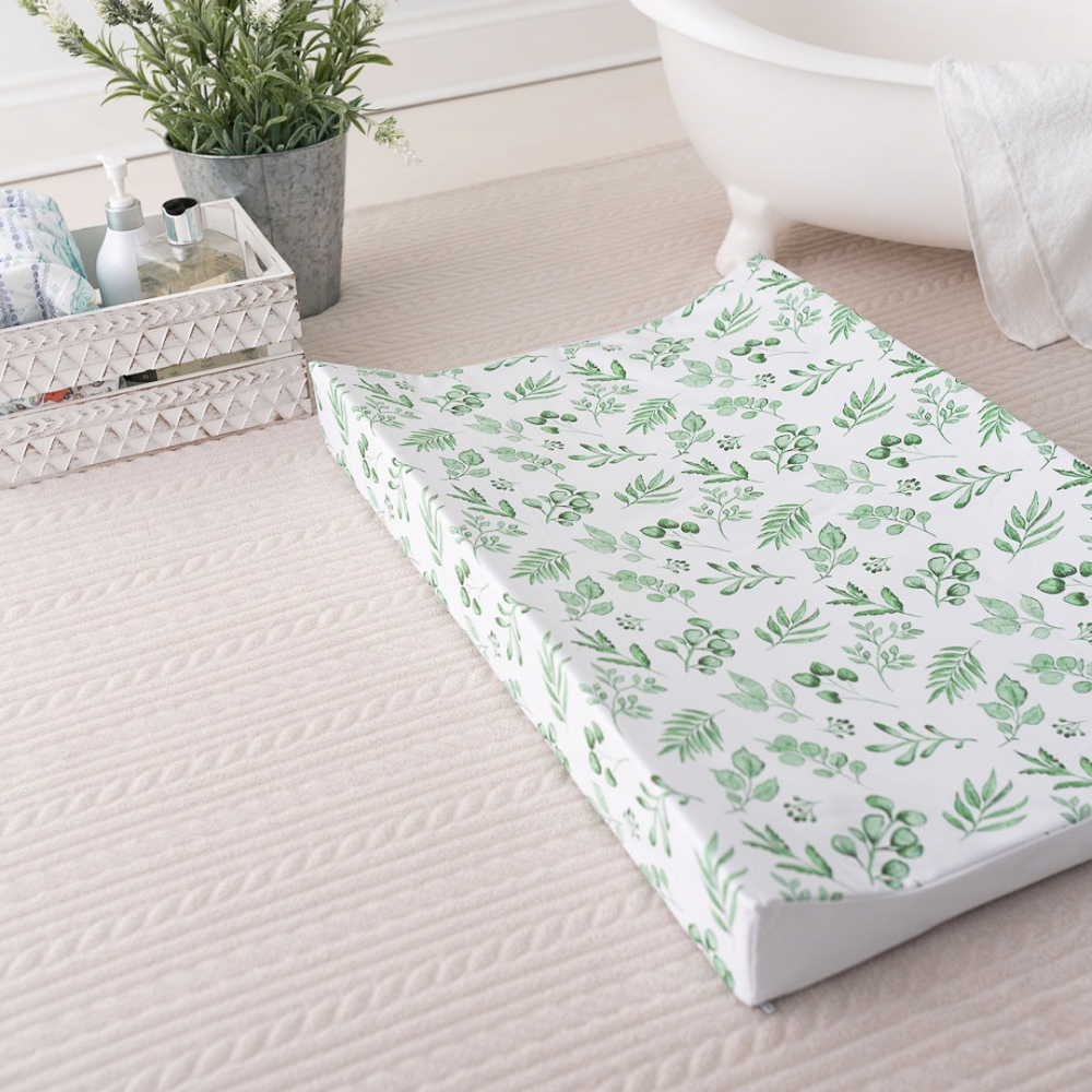 Lovely Leaves Green Anti Roll Wedge Mat | The Gilded Bird | Baby Changing Mats | Buy Changing Mats Online | Buy Wedge Mats