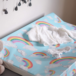 Rainbow On Light Blue, Anti Roll Wedge Mat | The Gilded Bird | Baby Changing Mats | Buy Changing Mats Online | Buy Wedge Mats