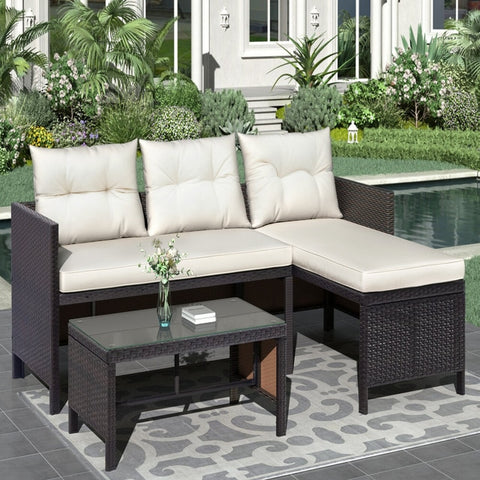 Modern Style 3-Piece Outdoor Rattan Sofa Cushion Set