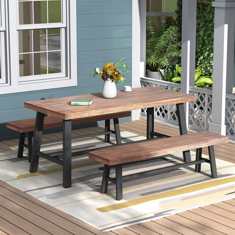 Patio Set Furniture Table And Bench Set