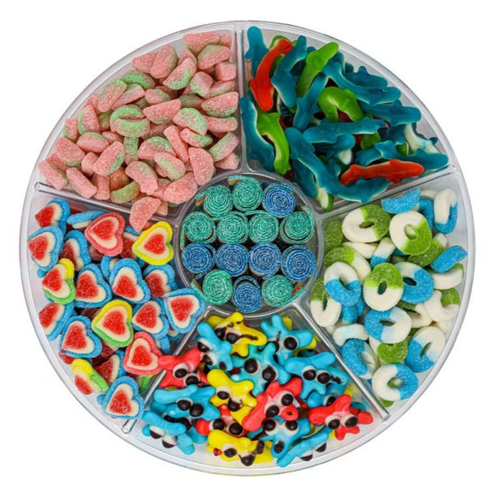 candy platter with Gummy Sand Sharks, Blue Raspberry and Green Apple Sour Rings, Quattro Rainbow Sour Belts, Triple Layer Hearts, Gummy Blobs and Sour Watermelon Rinds