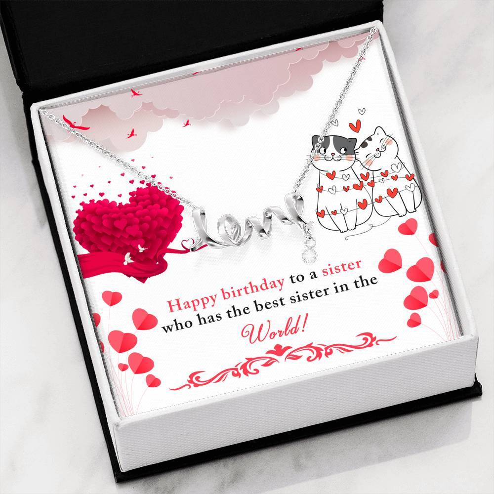 Happy Birthday Sister Friend  Scripted Love Word Necklace