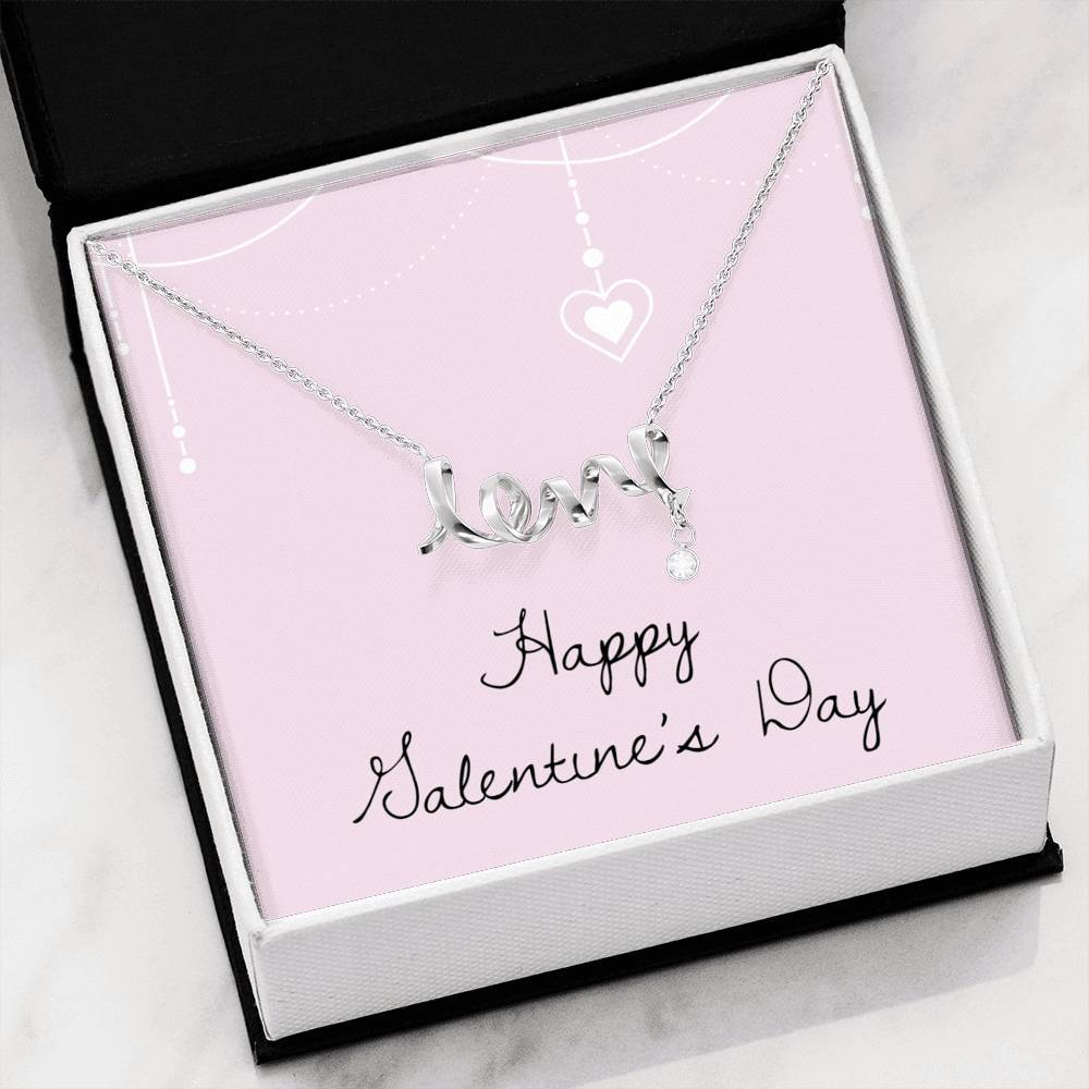 Happy Valentine's Day Love Girlfriend Wife Scripted Love Word Necklace