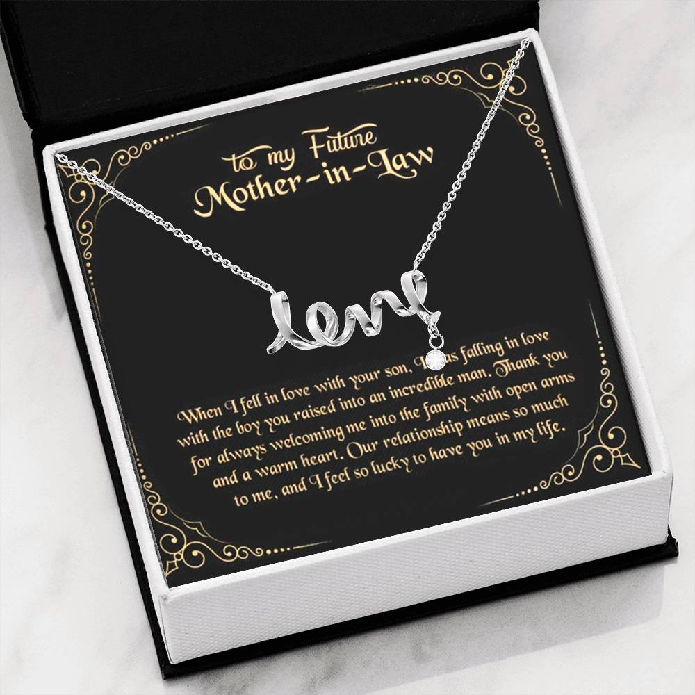To My Future Mother in Law Scripted Love Word Necklace