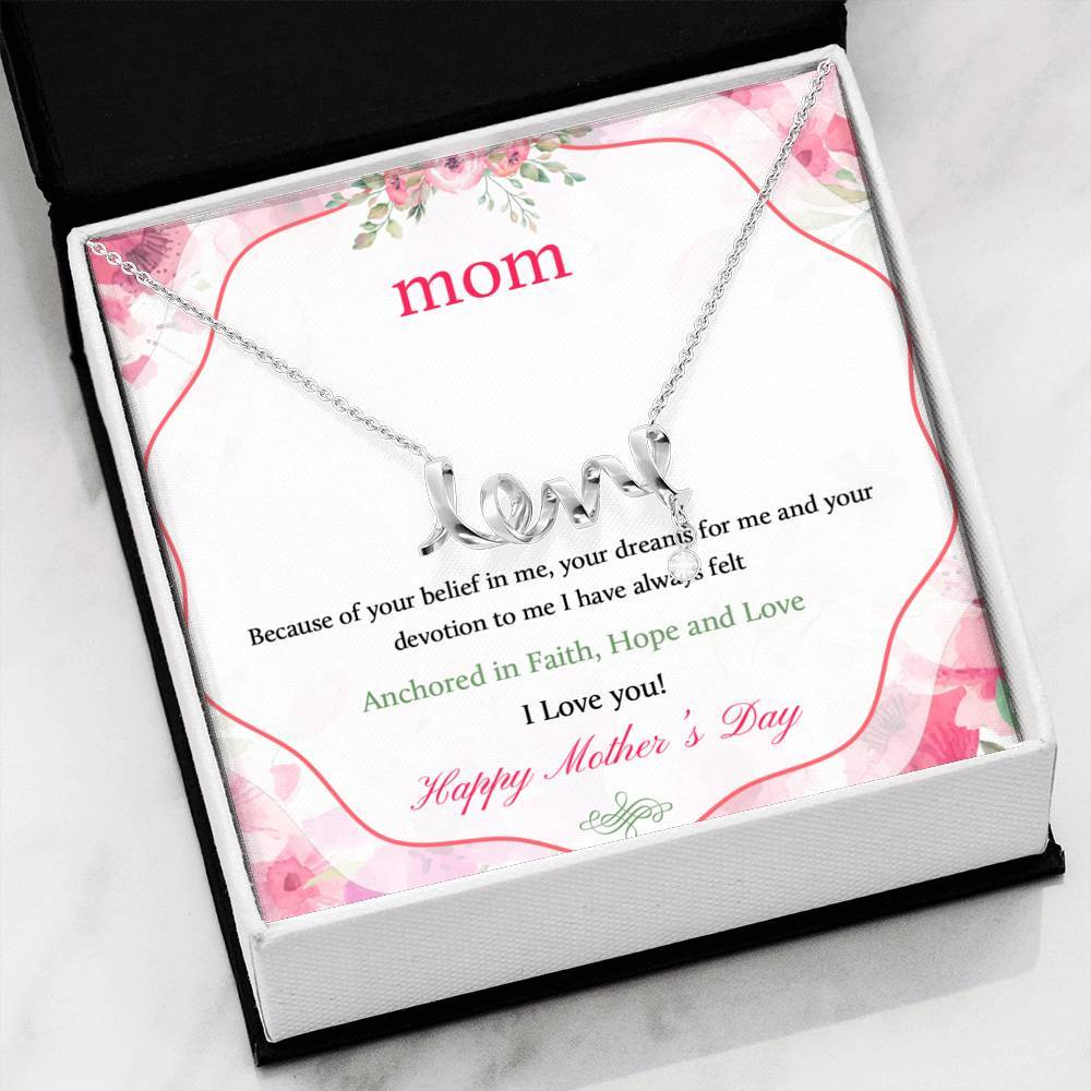 To Mom Happy Mother's Day I Love you  Scripted Love Word Necklace