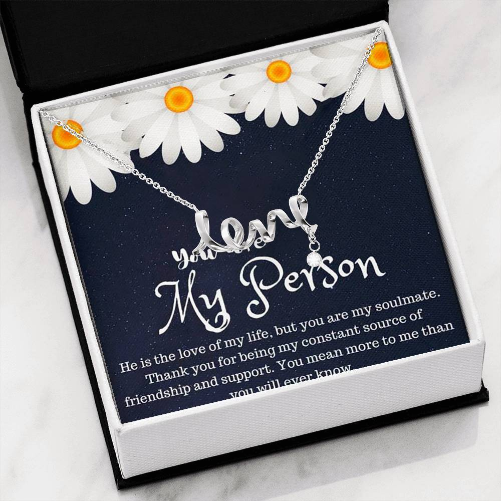 You are My  Person grey's anatomy LoveGirlfriend  Scripted Love Word Necklace
