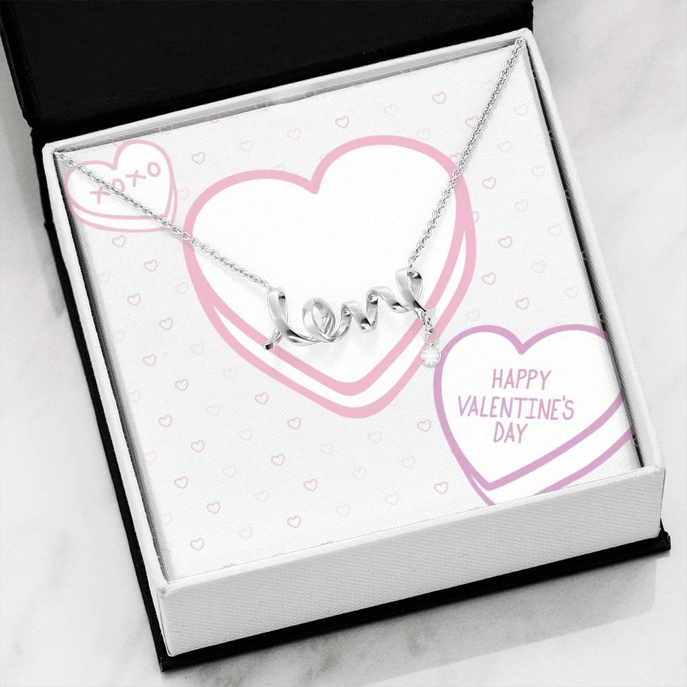 Valentine's  Candy Hearts To Wife girlfriend Scripted Love Word Necklace
