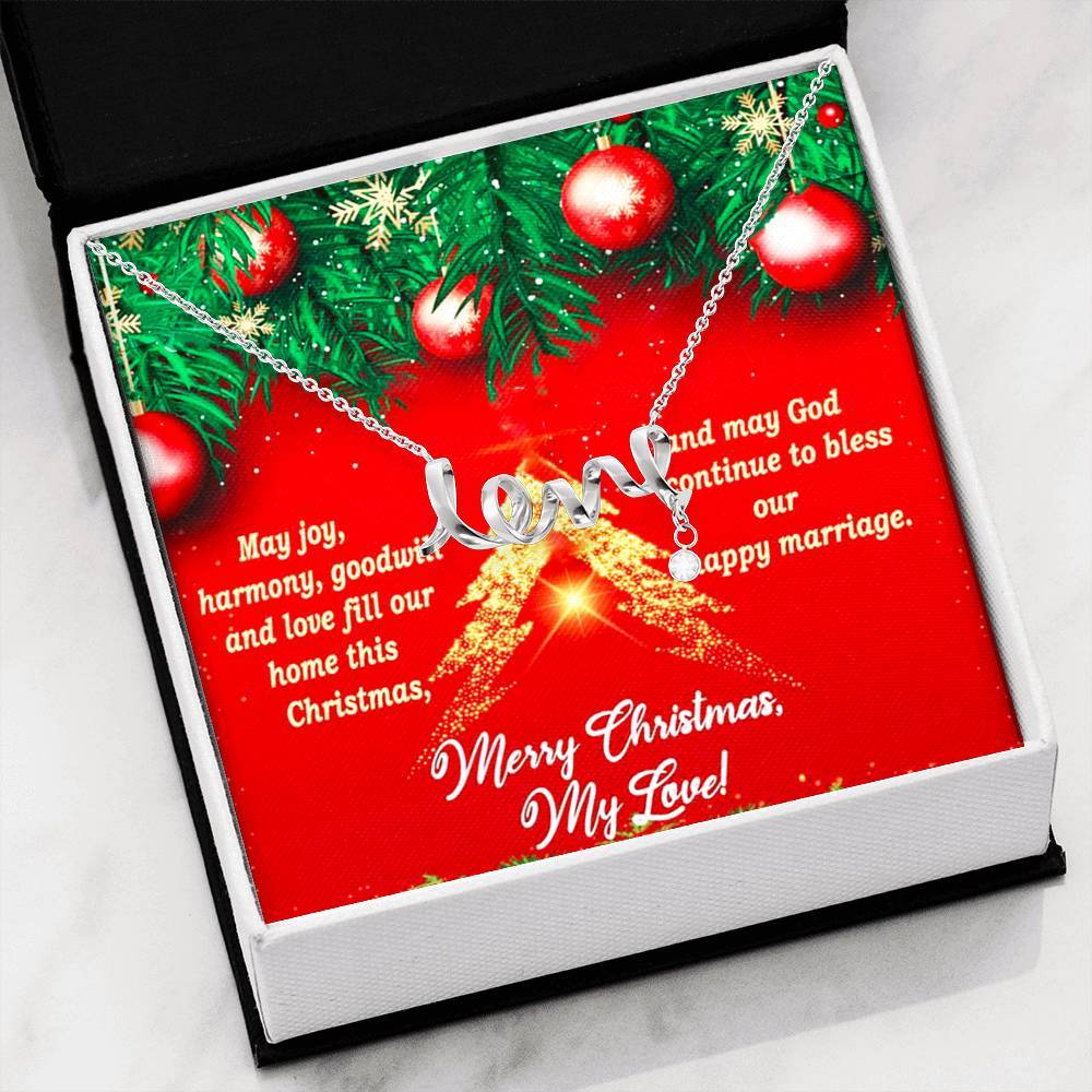To My Love Merry Christmas Future Wife Girlfriend xmas grinch Scripted Love Word Necklace