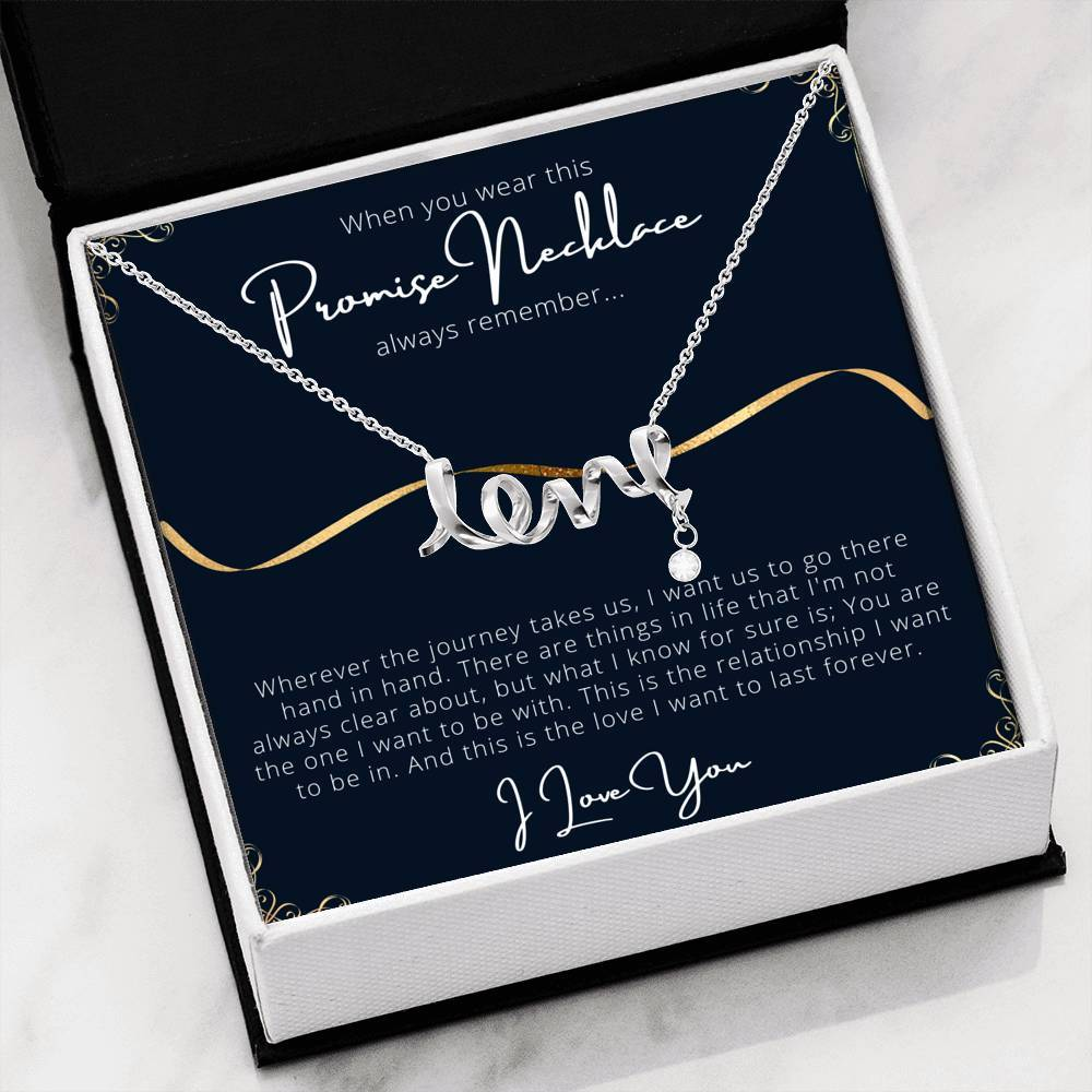 PROMISE To My Wife or Girlfriend Love Scripted Love Word Necklace