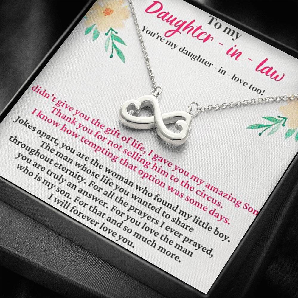 To My Daughter in law   infinity necklace with luxury message box