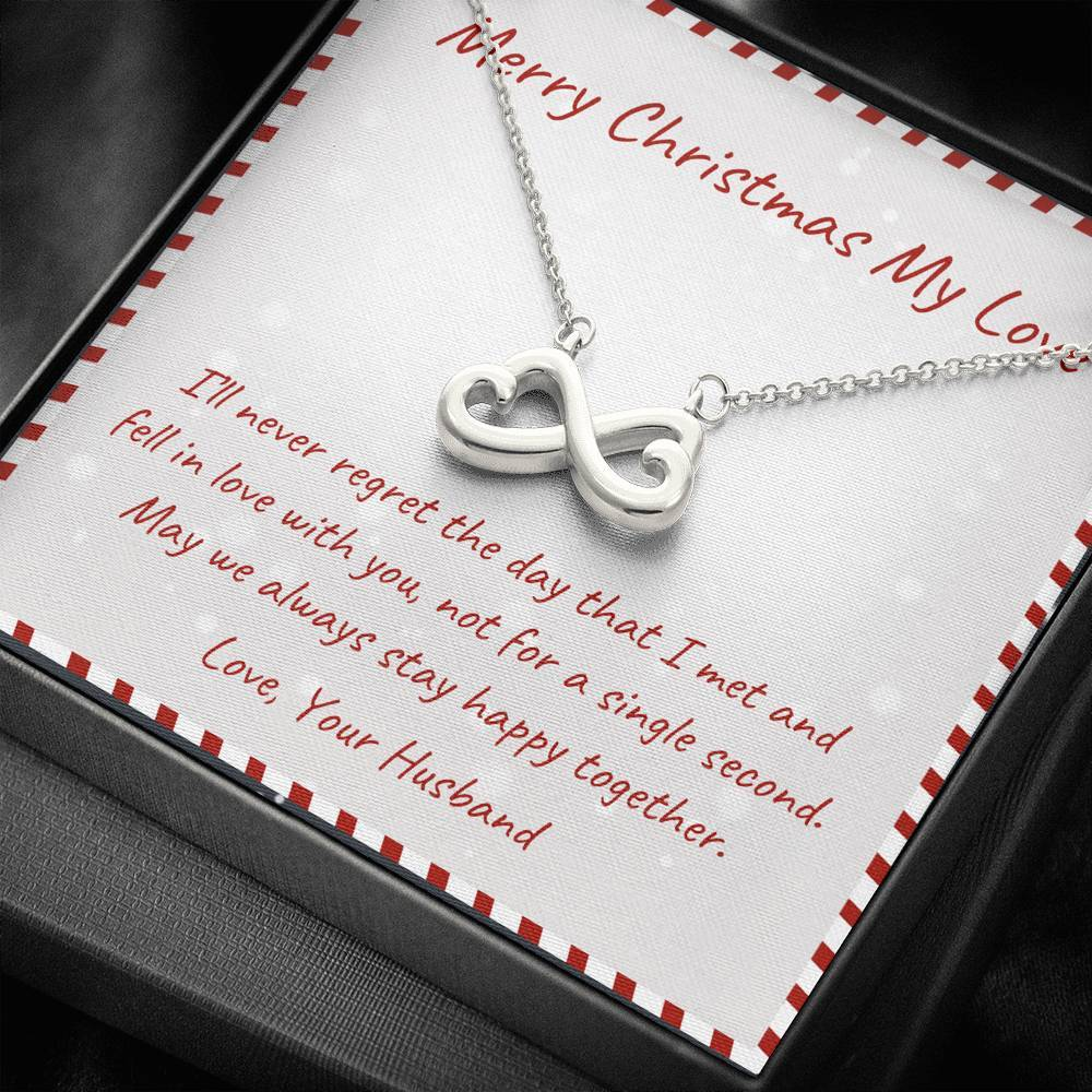 To My Wife MERRY CHRISTMAS  ALWAYS STAY HAPPY TOGETHER infinity necklace with luxury message box