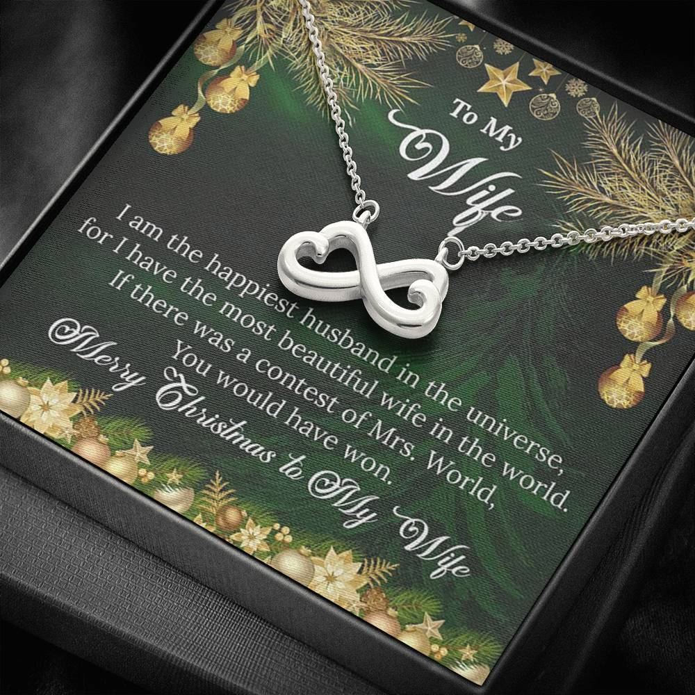 To My Wife Merry Christmas I am the happiest Husband xmas grinch love girlfriend infinity necklace with luxury message box