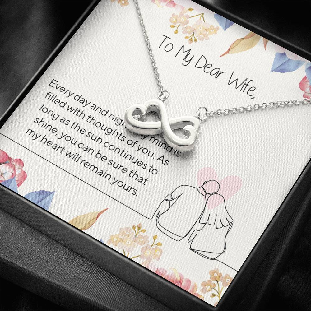 TO MY DEAR WIFE infinity necklace with luxury message box
