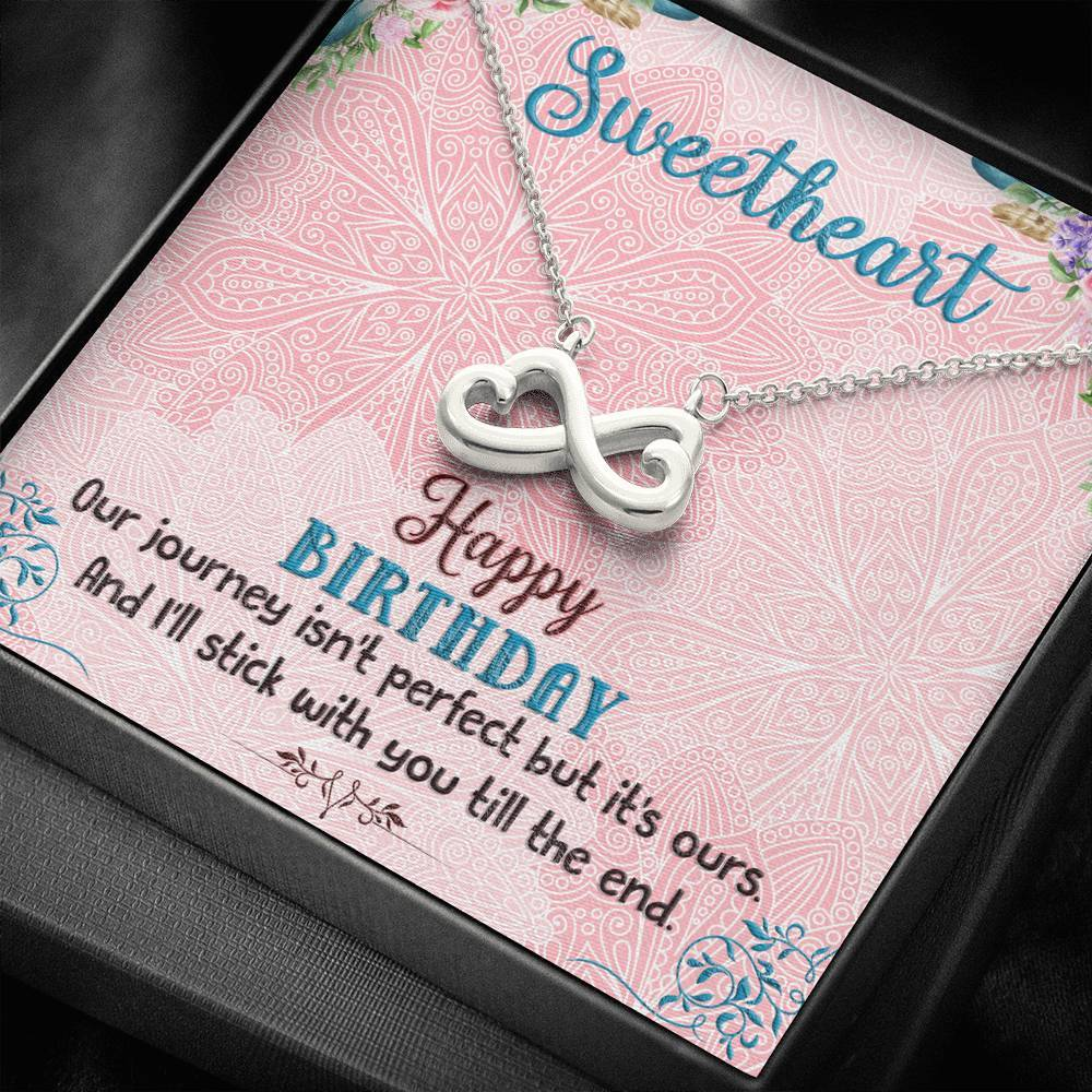 To My SweetHeart Happy Birthday Girlfriend Wife    infinity necklace with luxury message box