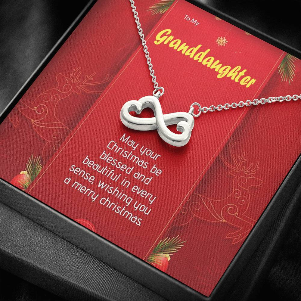 To My GrandDaughter Merry Christmas  infinity necklace with luxury message box