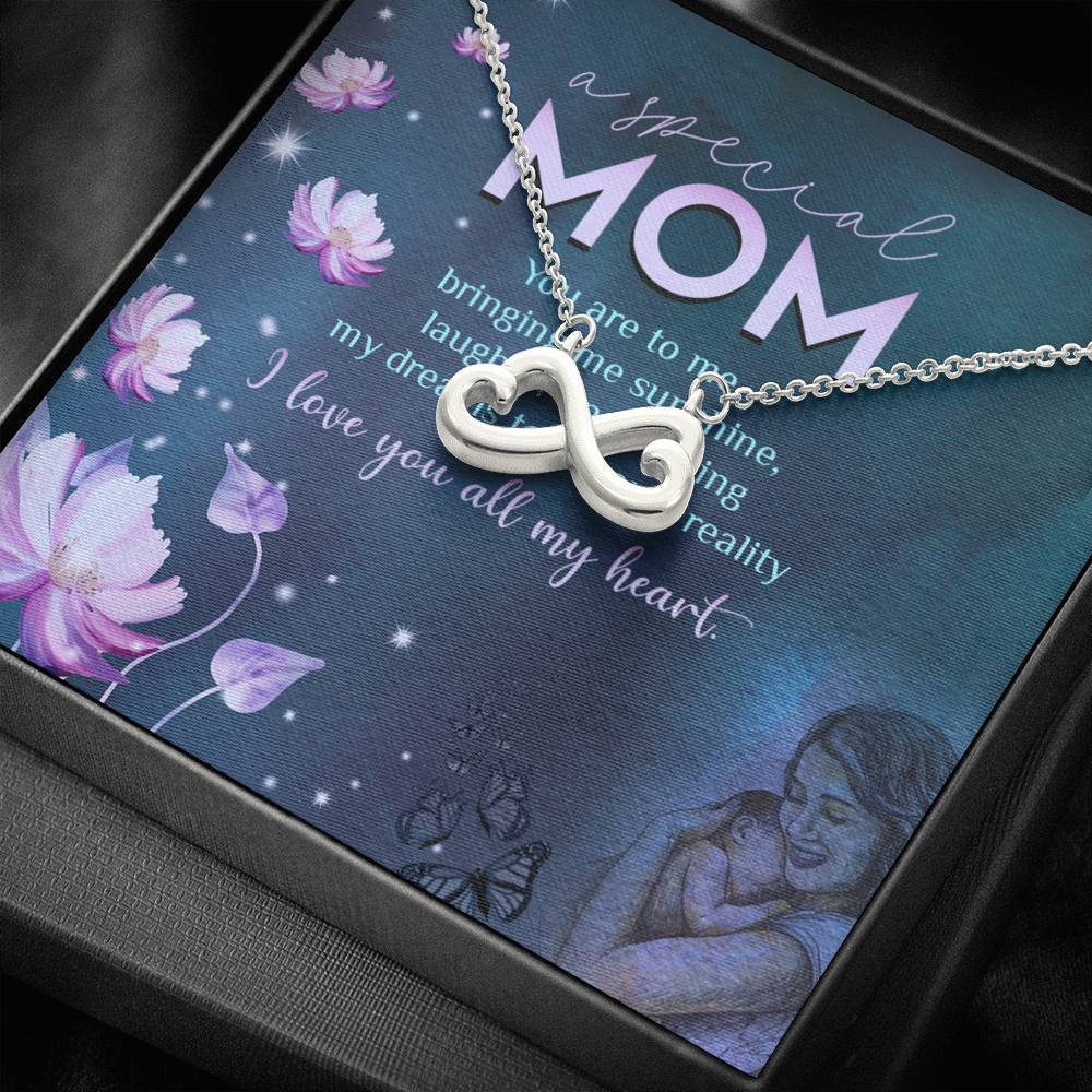 Special Mom I love you all my heart infinity necklace with luxury message box