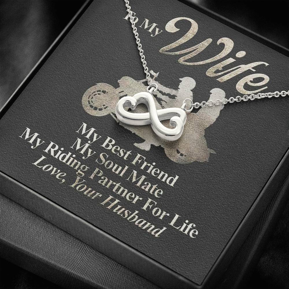 To My Ride Partner Wife Riding Friends infinity necklace with luxury message box