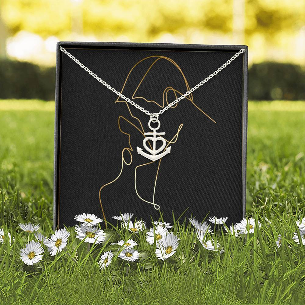 HIM & HER To Wife or Girlfriend Love Anchor Shape Necklace