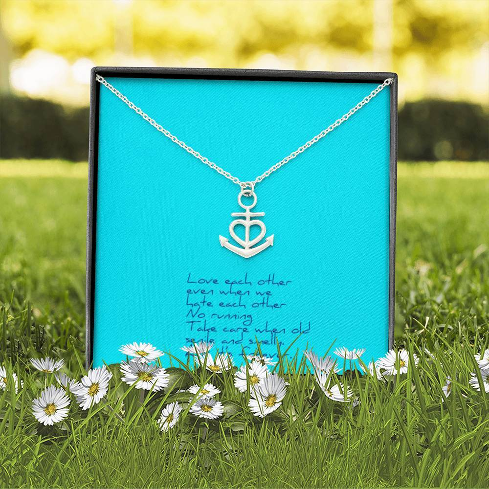 Love Each Other Wife Girlfriend Anchor Shape Necklace