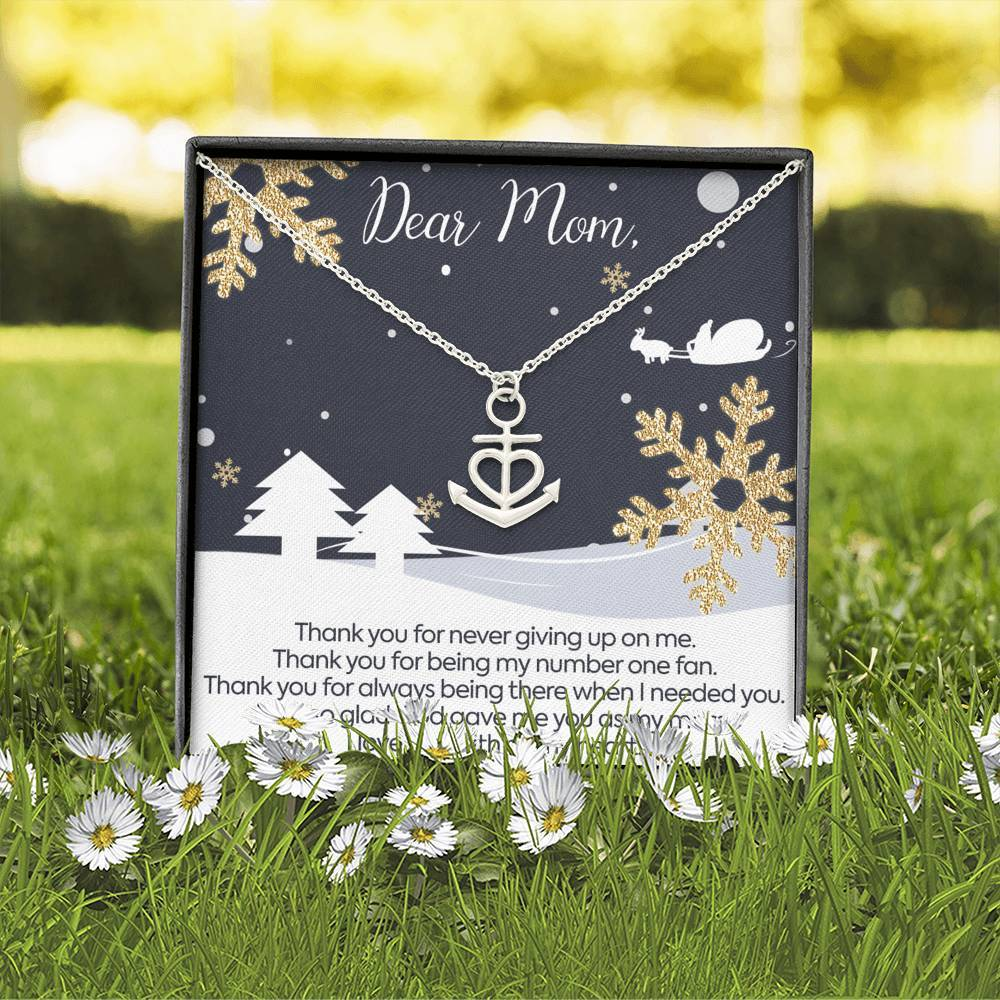 DEAR MOM THANK YOU and MERRY CHRISTMAS  Mother Anchor Shape Necklace