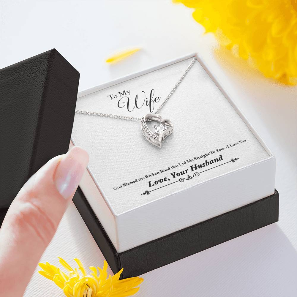 To Wife From Husband Broken Road Forever Love Heart Necklace personalized