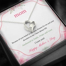 Load image into Gallery viewer, To Mom Happy Mother's Day I Love you  Forever Love Heart Necklace personalized