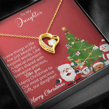 Load image into Gallery viewer, To My Daughter Merry Christmas to our precious Gift from Mom and Dad xmas grinch Forever Love Heart Necklace personalized