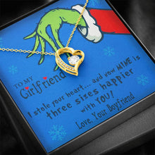 Load image into Gallery viewer, To My Girlfriend Grinch Christmas I stole your heart and Now Mine is Three size Happier with you Grinch xmas Christmas  Forever Love Heart Necklace personalized