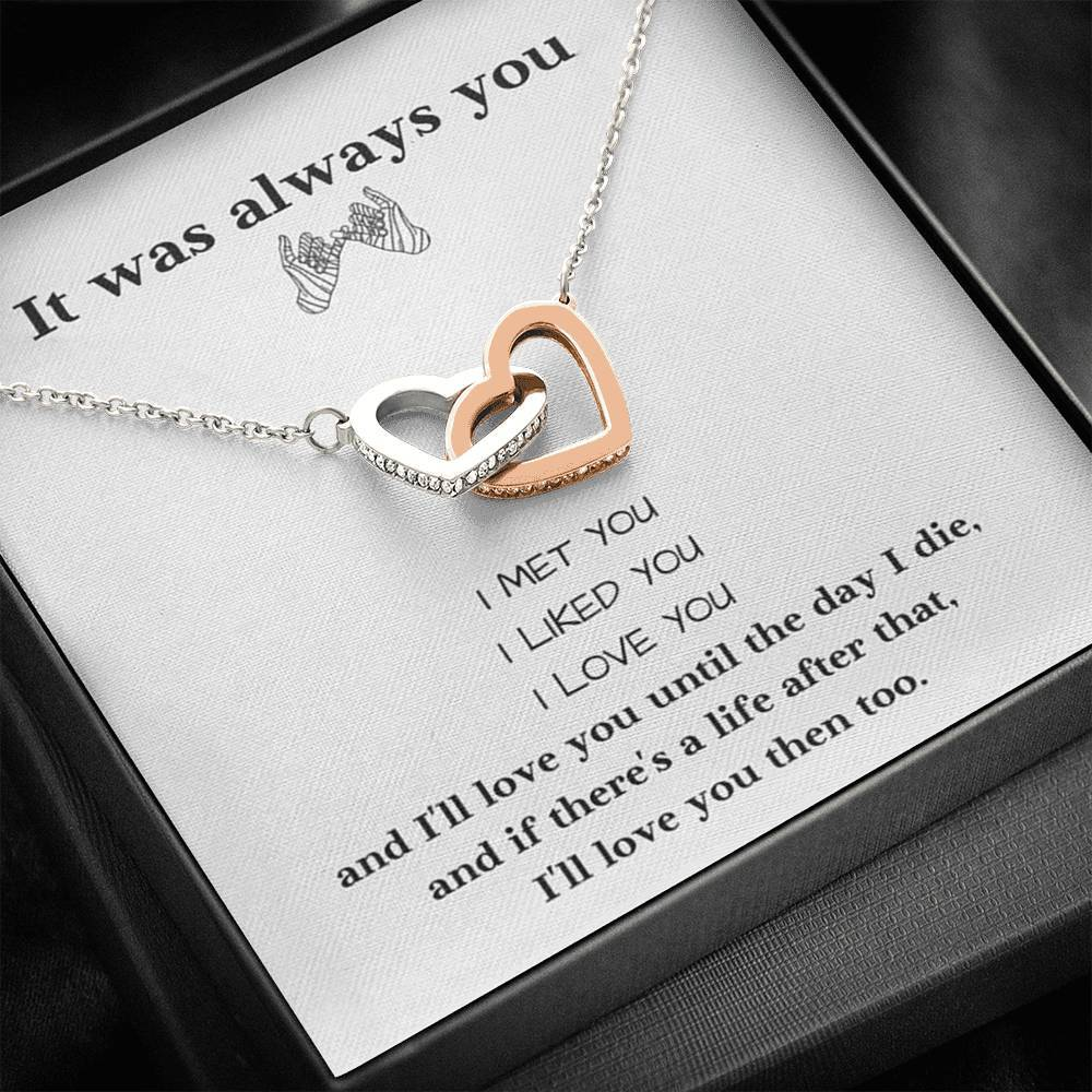 It was Always You Love Girlfriend Wife interlocking Hearts Necklace with Luxury Box Mahogany-style & Builtin-LED