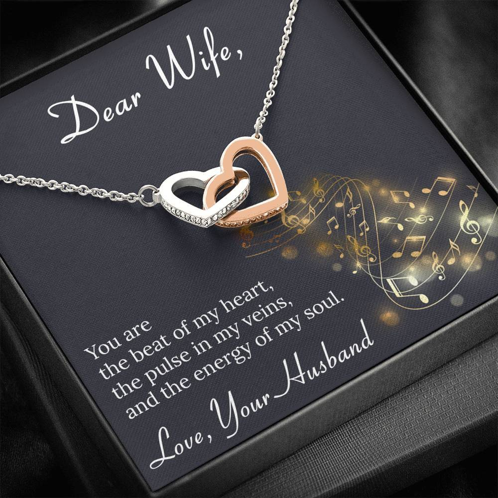 To My Wife BEAT OF MY HEART interlocking Hearts Necklace with Luxury Box Mahogany-style & Builtin-LED
