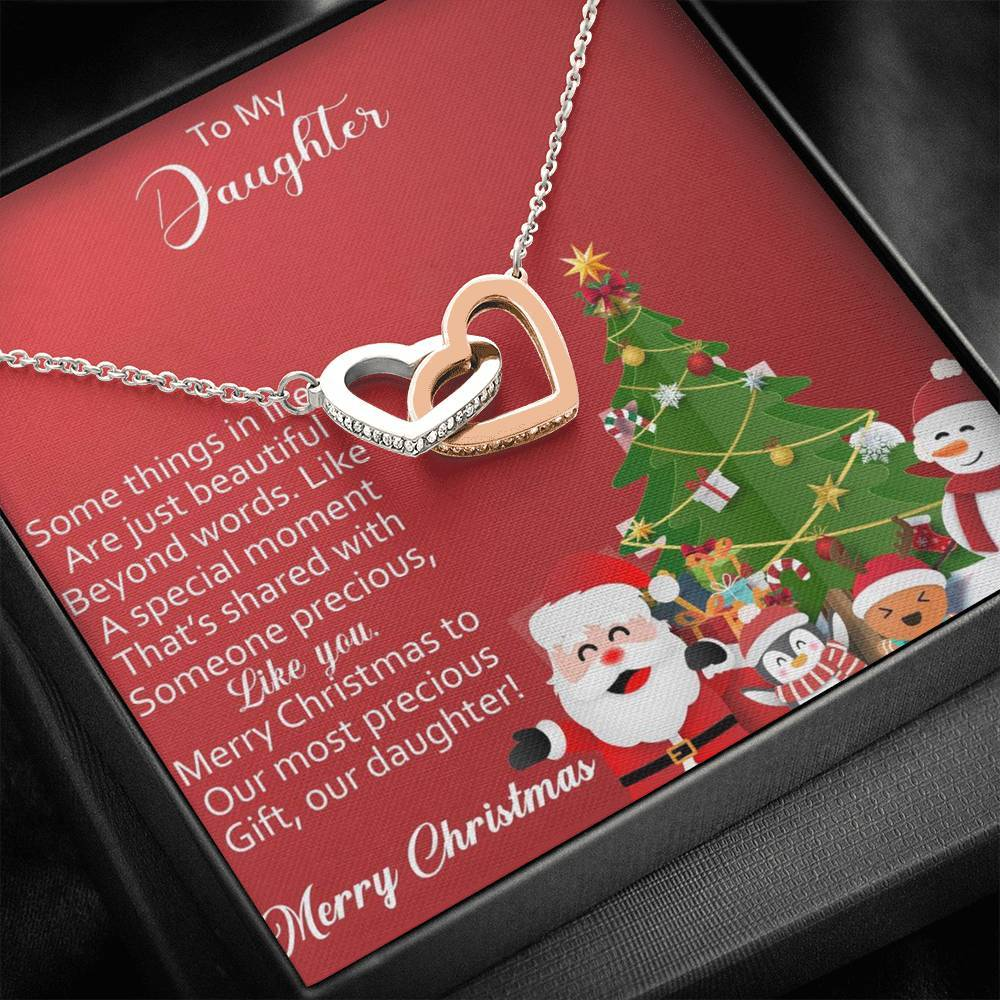 To My Daughter Merry Christmas to our precious Gift from Mom and Dad xmas grinch interlocking Hearts Necklace with Luxury Box Mahogany-style & Builtin-LED