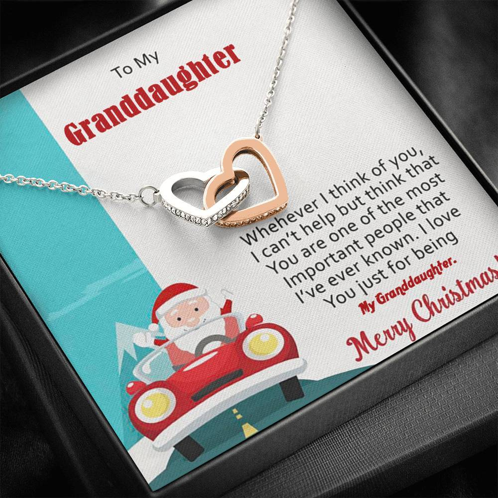 To My Granddaughter Merry Christmas interlocking Hearts Necklace with Luxury Box Mahogany-style & Builtin-LED