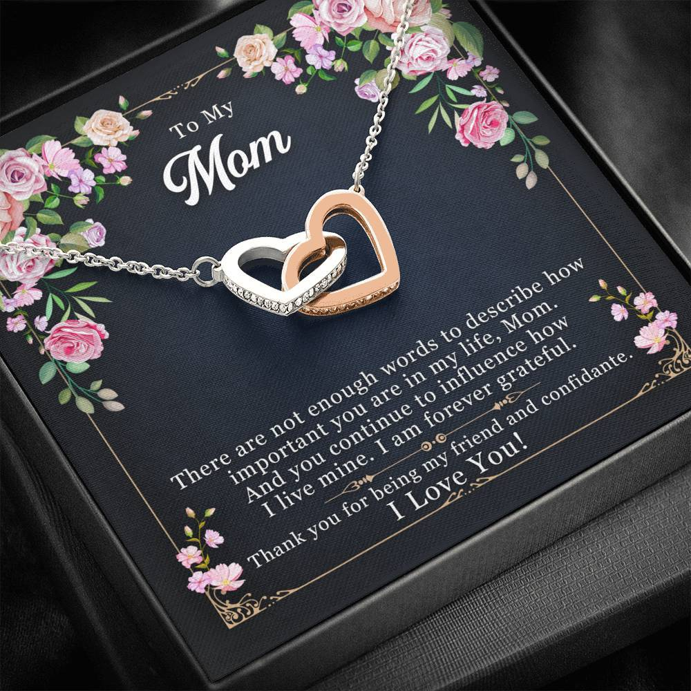 To My Mom I Love You There are not enough By Sanad interlocking Hearts Necklace with Luxury Box Mahogany-style & Builtin-LED