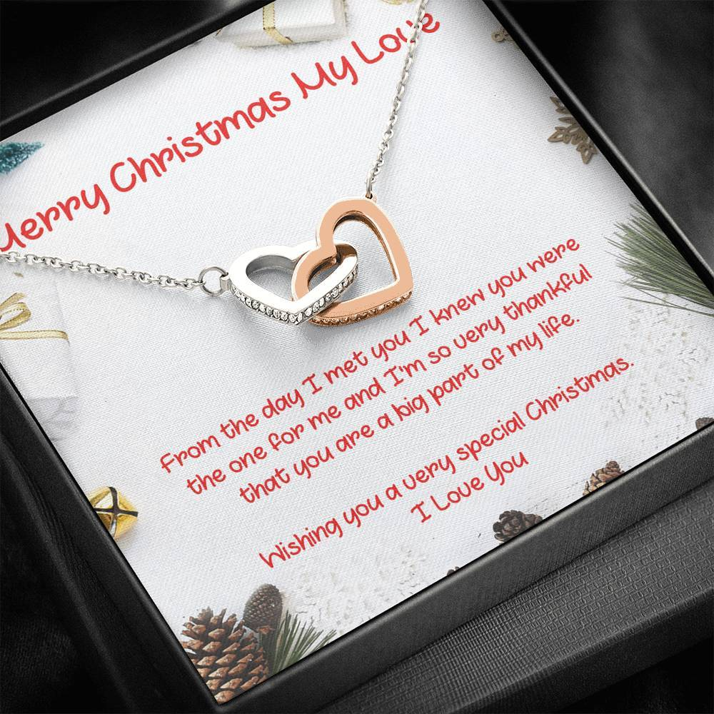 MERRY CHRISTMAS MY LOVE Girlfiend Wife interlocking Hearts Necklace with Luxury Box Mahogany-style & Builtin-LED