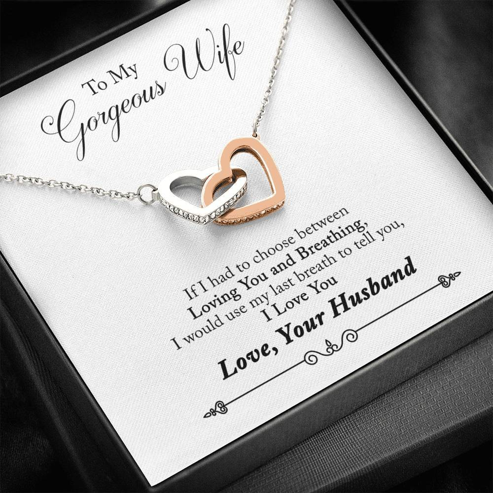 To My Gorgeous Wife from Husband I Love you interlocking Hearts Necklace with Luxury Box Mahogany-style & Builtin-LED