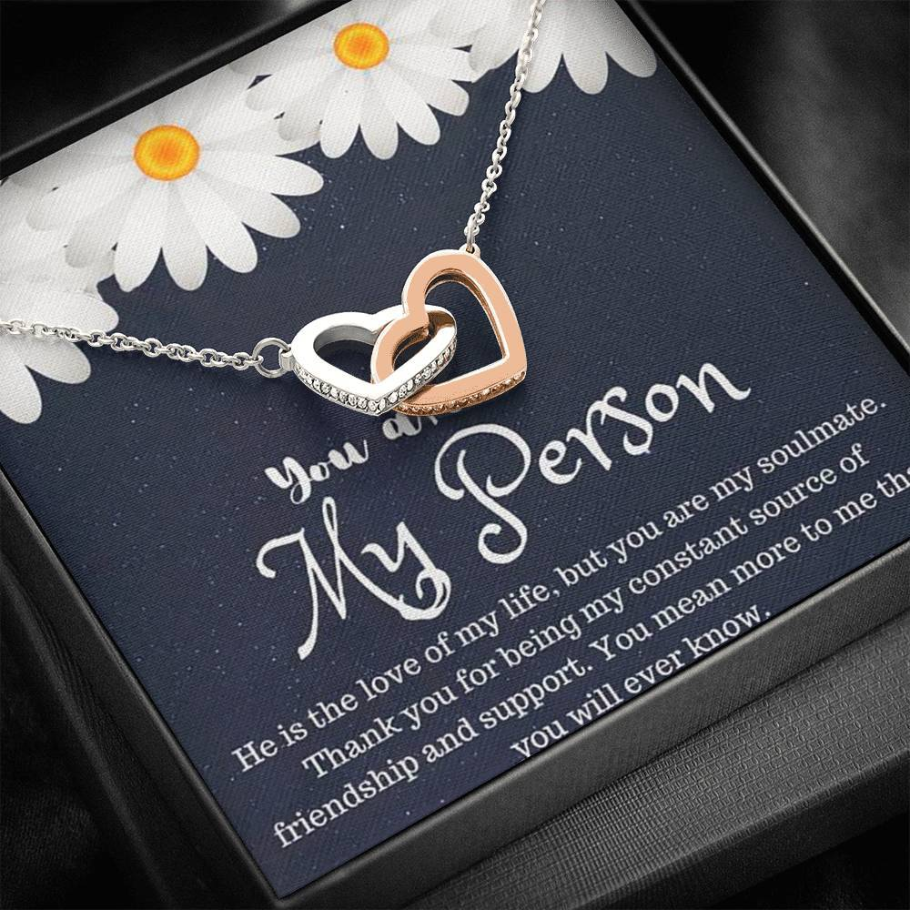 Grey Anatomy You are My  Person Design interlocking Hearts Necklace with Luxury Box Mahogany-style & Builtin-LED