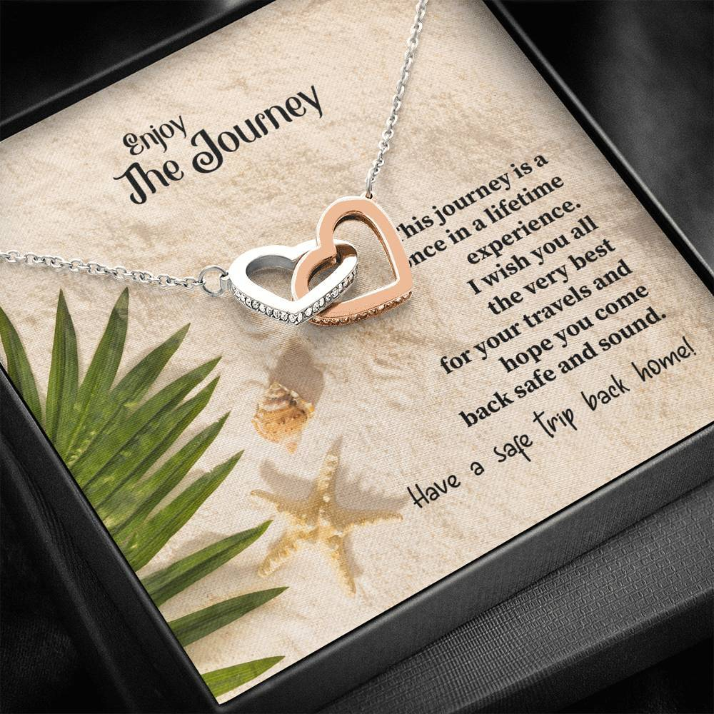 Enjoy Your Journey wife daughter firned sister interlocking Hearts Necklace with Luxury Box Mahogany-style & Builtin-LED