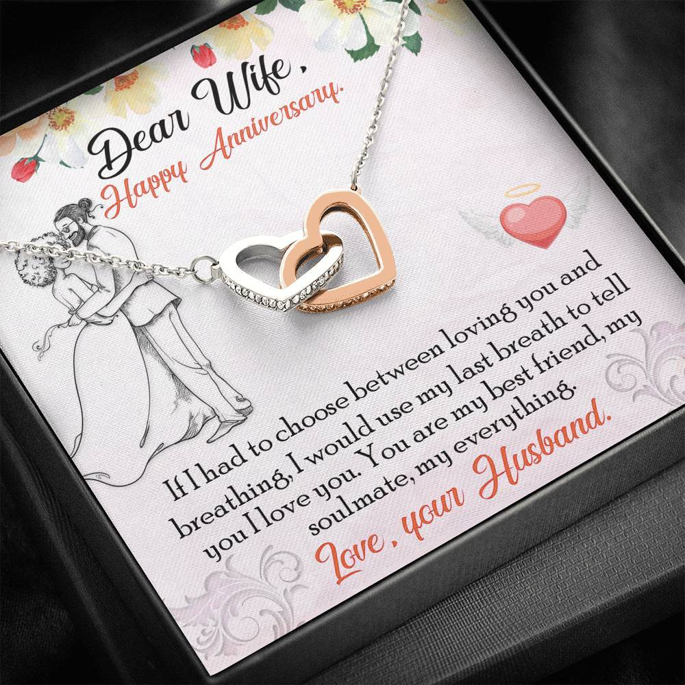 To My Wife from Husband Happy Anniversary If I had to choose new interlocking Hearts Necklace with Luxury Box Mahogany-style & Builtin-LED