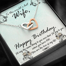 Load image into Gallery viewer, To The World Best Wife Happy Birthday  interlocking Hearts Necklace with Luxury Box Mahogany-style & Builtin-LED