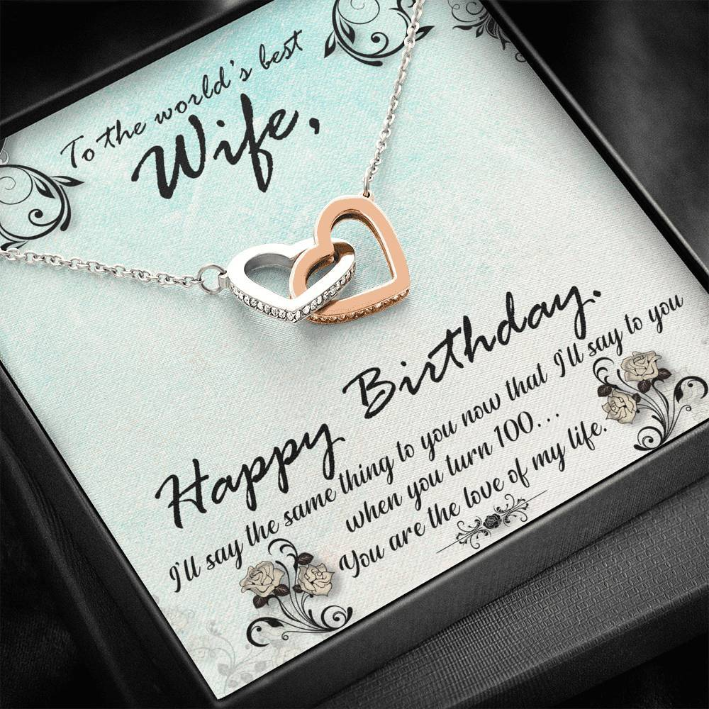 To The World Best Wife Happy Birthday  interlocking Hearts Necklace with Luxury Box Mahogany-style & Builtin-LED