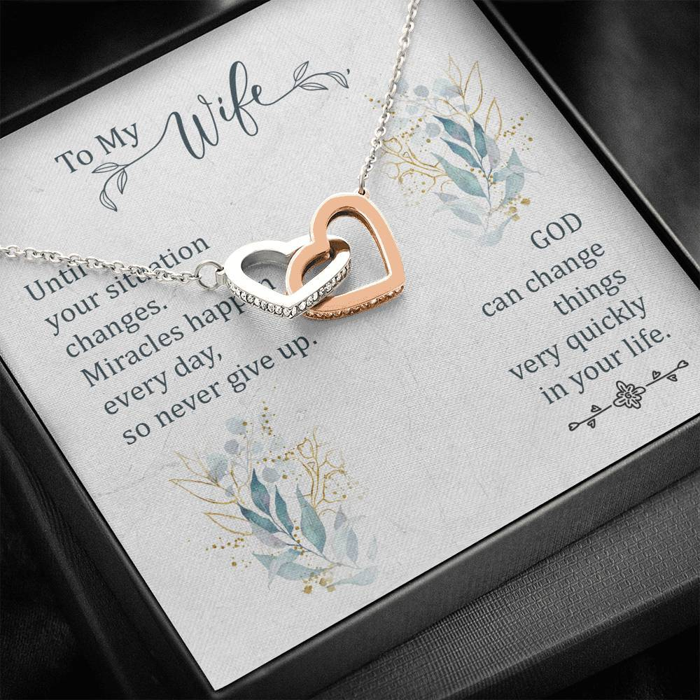 To my Wife Until your situation change  interlocking Hearts Necklace with Luxury Box Mahogany-style & Builtin-LED