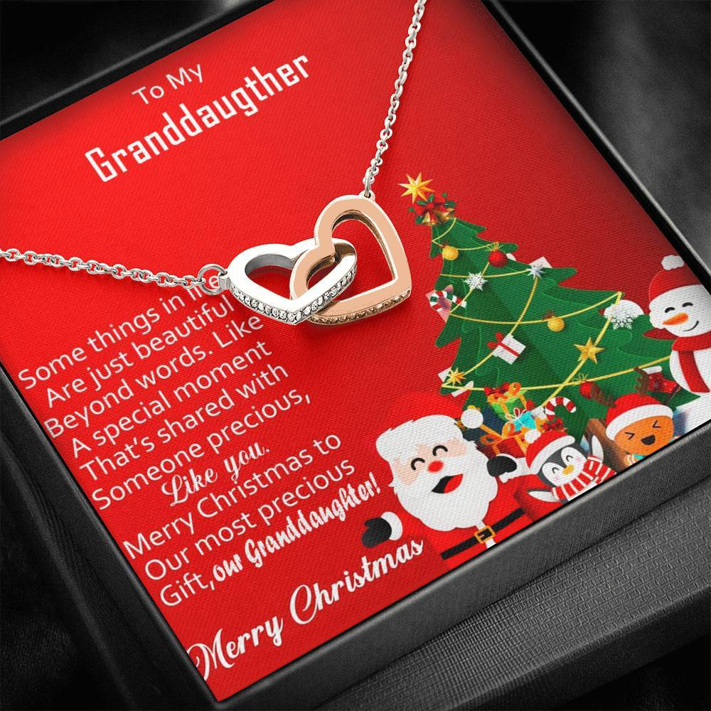 To My Granddaughter Merry Christmas Special Moment  interlocking Hearts Necklace with Luxury Box Mahogany-style & Builtin-LED