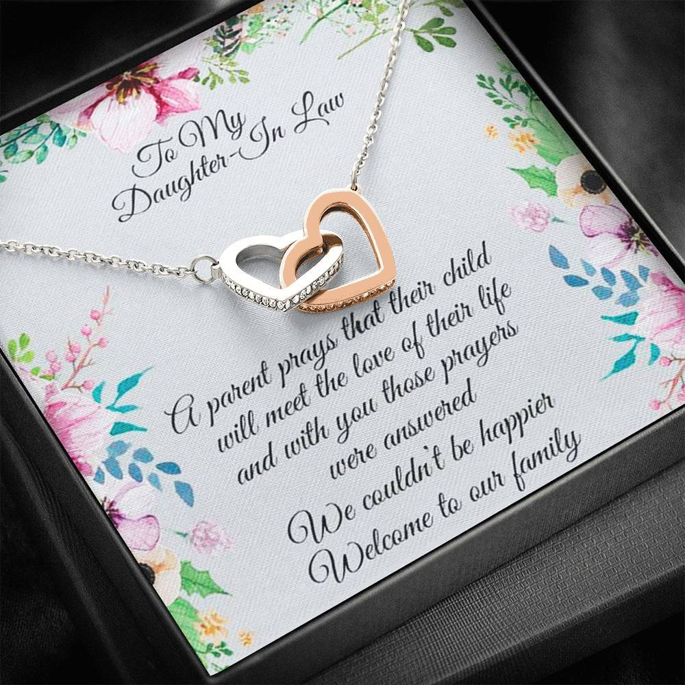 To My Daughter in law interlocking Hearts Necklace with Luxury Box Mahogany-style & Builtin-LED