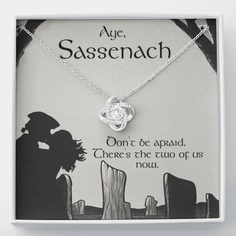 To my Sassenach Love wifeGirlfriend  Love Knot Necklace with Luxury Box Mahogany-style & Builtin-LED