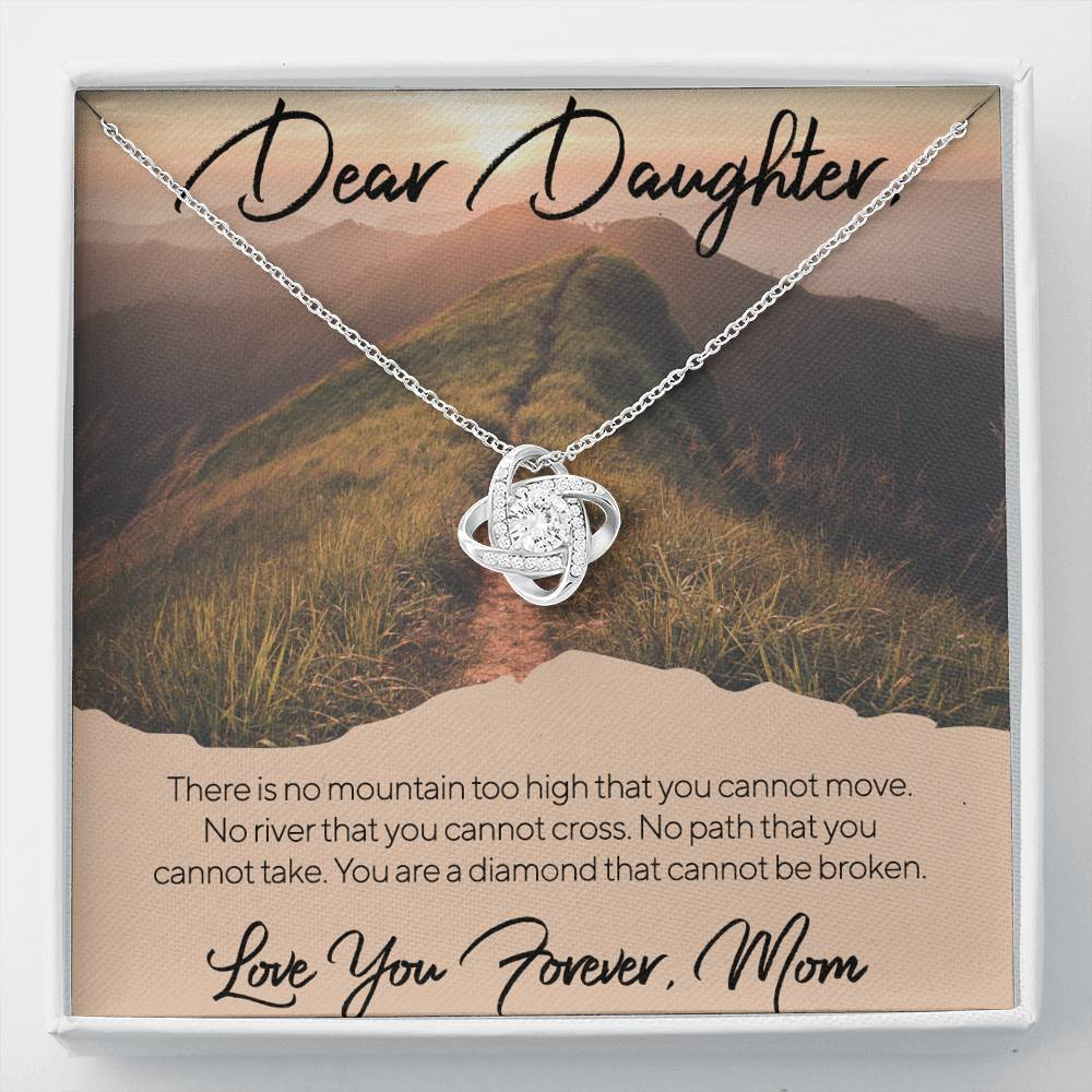 From Mom to My Daughter NO MOUNTAIN TOO HIGH Love Knot Necklace with Luxury Box Mahogany-style & Builtin-LED