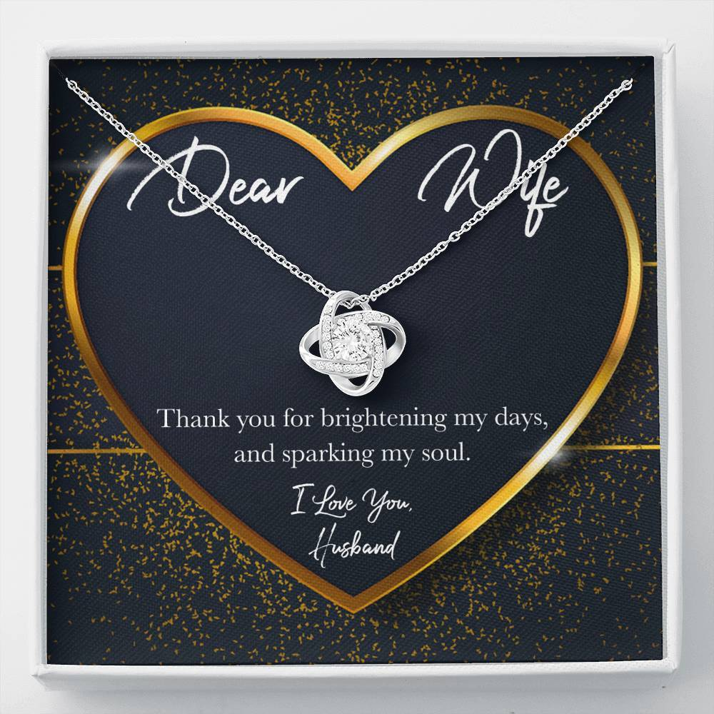 Dear Wife GOLD HEART Love Knot Necklace with Luxury Box Mahogany-style & Builtin-LED