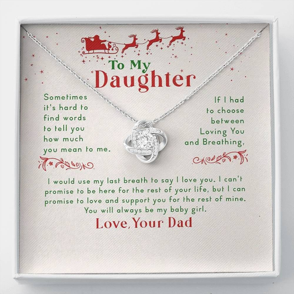 To MY Daughter Merry Christmas  Love Knot Necklace with Luxury Box Mahogany-style & Builtin-LED