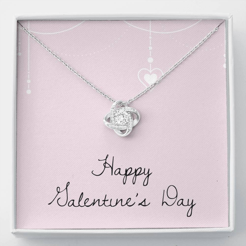 Happy Valentine's Day Love Girlfriend Wife Love Knot Necklace with Luxury Box Mahogany-style & Builtin-LED